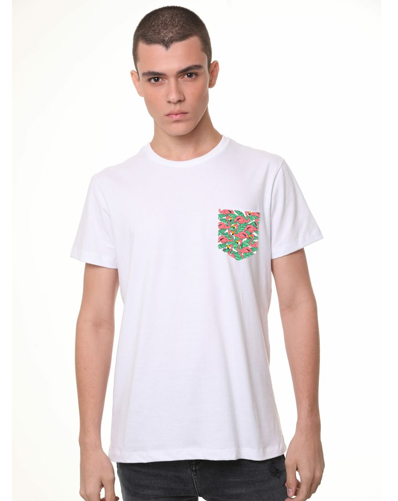 Camiseta Flamingo Flowers (Masculino Adulto)