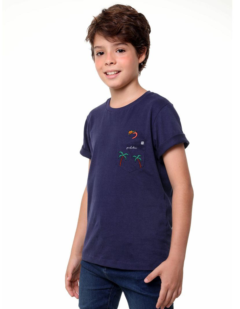 Camiseta Flamingo Tropical (Infantil Masculino)