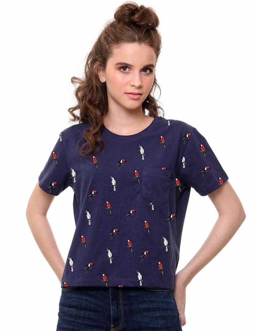 Camiseta Pássaros Full (Feminino Adulto)