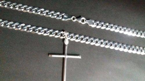 Corrente Prata 925 Maciça Grumet 70 Cm 24 Gramas 6mm + Cruz