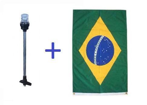 Kit Mastro de Popa LED + Bandeira do Brasil