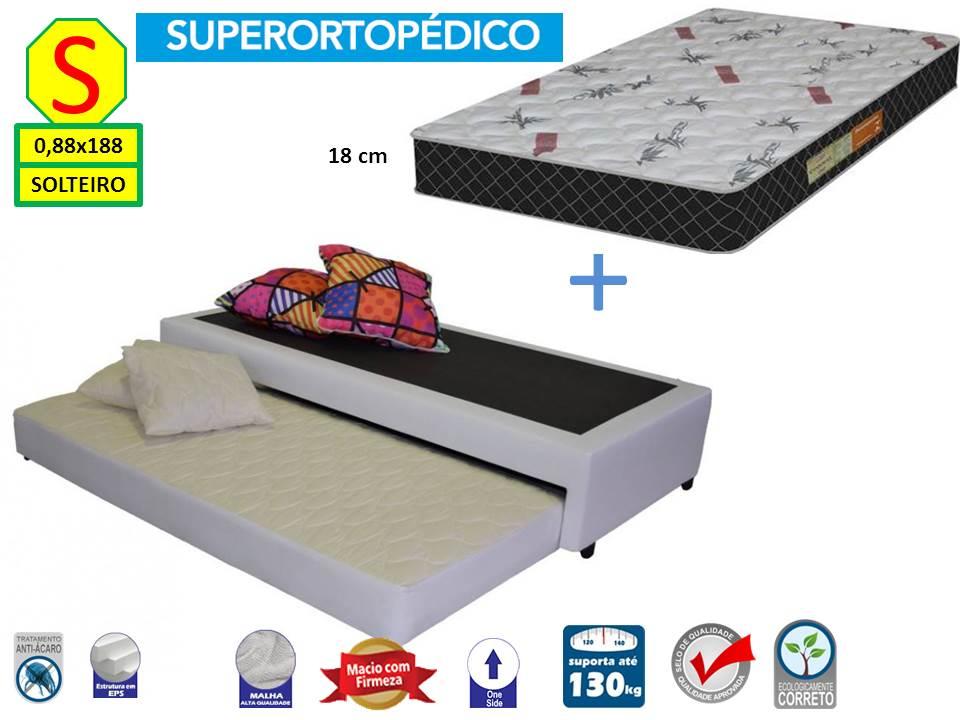 ef38d84289 Bicama Box Solteiro 88x188 Premium Corino + Colchão Ortopedico Isoblack
