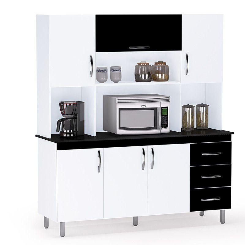 Armário Para Cozinha 6 Portas e 3 Gavetas Branco/Preto - Kit Ana Clara - AJL