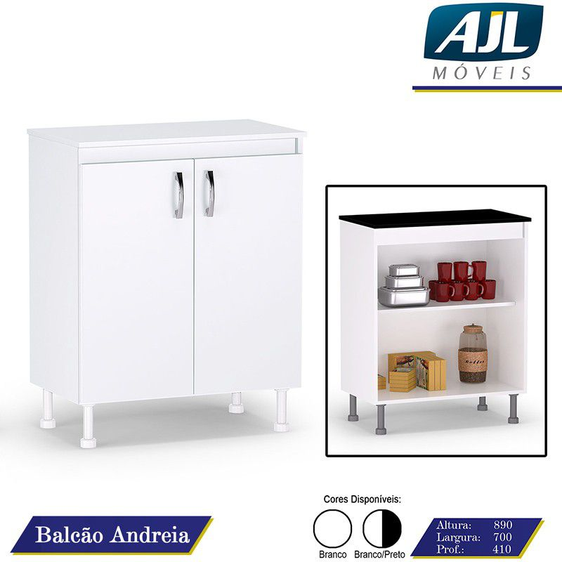 Balcão de Cozinha Andréia 2 Portas Branco - AJL