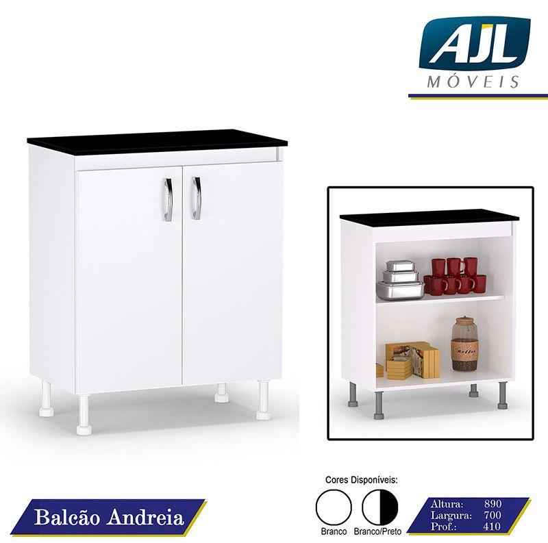 Balcão de Cozinha Andréia 2 Portas Branco/Preto - AJL