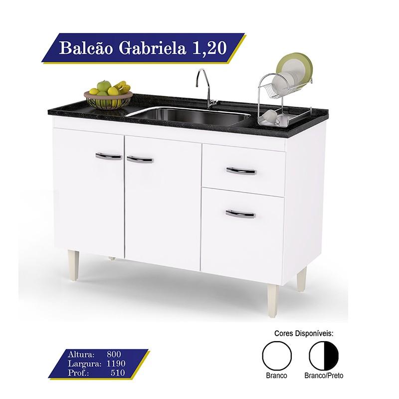 Balcão Para Pia Gabriela 120cm 3 Portas e 1 Gaveta Flex - AJL