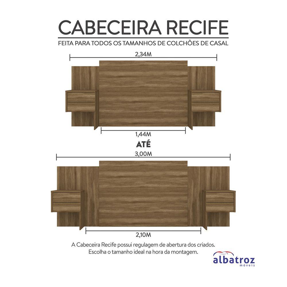 Cabeceira Extensível Cama Casal Recife com Criado mudo Amêndoa - Albatroz