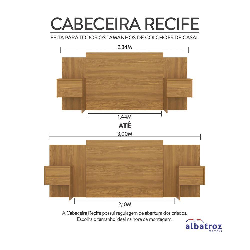 Cabeceira Extensível Cama Casal Recife com Criado mudo Carvalho - Albatroz