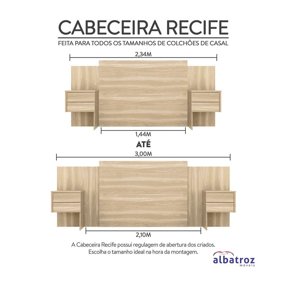 Cabeceira Extensível Cama Casal Recife com Criado mudo Freijó - Albatroz