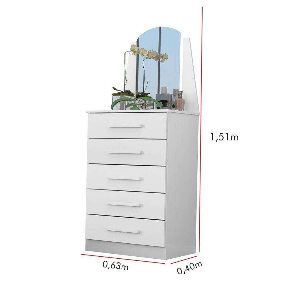 Cômoda Veneza com Espelho 5 Gavetas Branco - Albatroz
