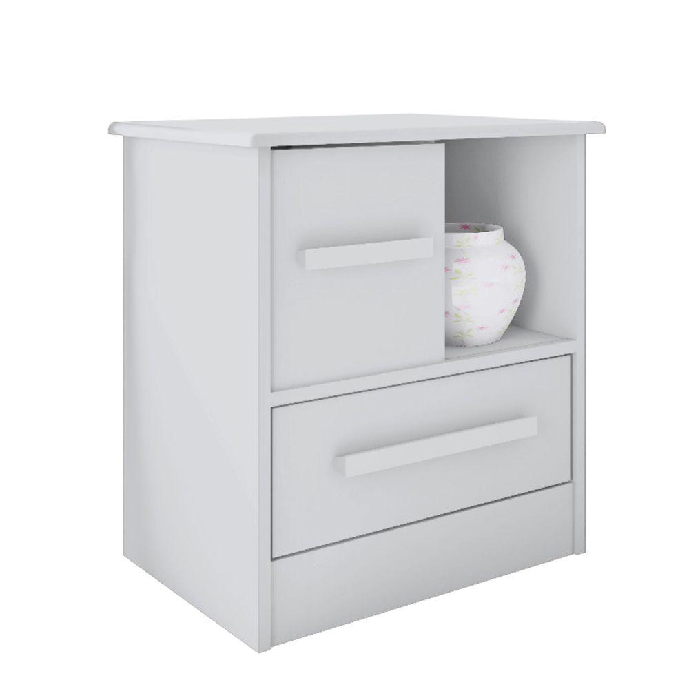 Criado Mudo Stilo 1 Gaveta 1 Porta deslizante Branco - Albatroz