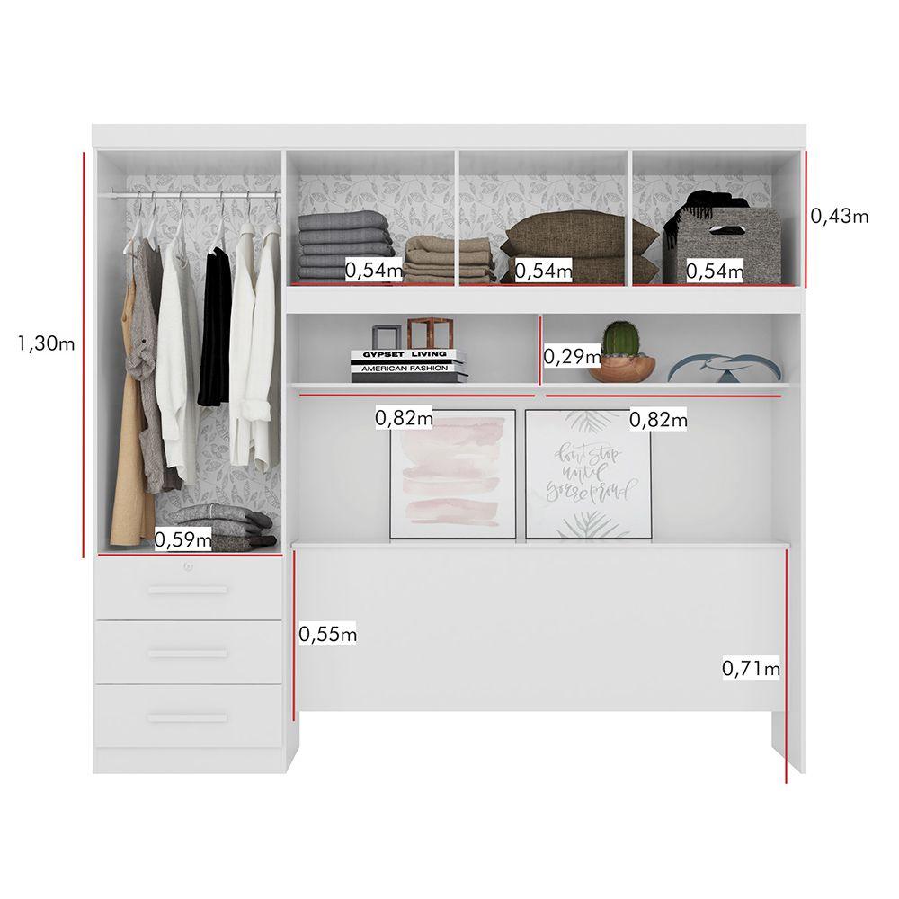 Dormitório Duster Casal 4 Portas 3 Gavetas Branco - Albatroz