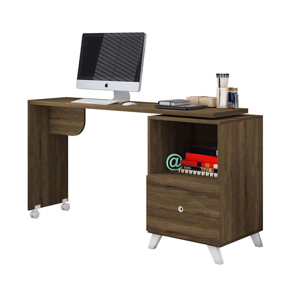 Escrivaninha Mesa Giratória com Rodízios Carinho Cedro - Albatroz