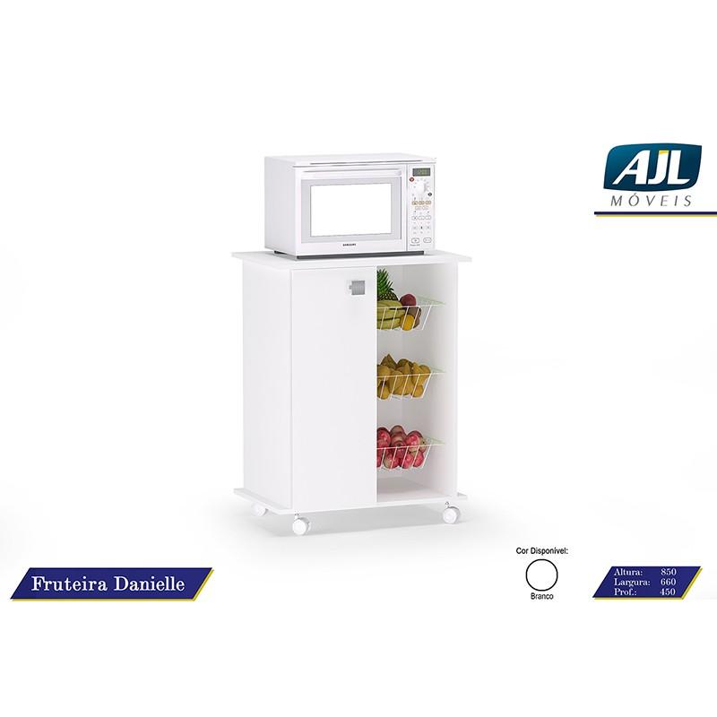 Fruteira Para Microondas Danielle - 1 Porta e 3 Cestos Branco - AJL