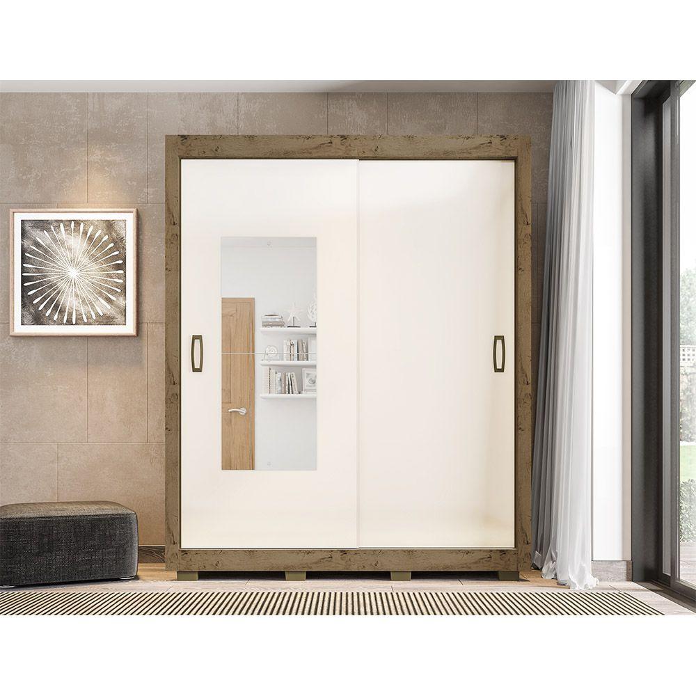 Guarda Roupa 2023 2 Portas Deslizantes com Espelho 3 Gavetas cor Demolição/Baunilha - Araplac