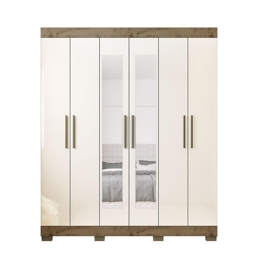 Guarda Roupa 2062 6 Portas com Espelho 2 Gavetas cor Demolição/Baunilha - Araplac