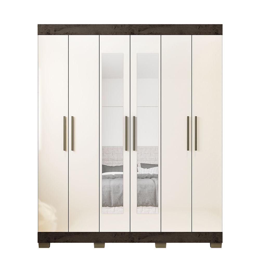 Guarda Roupa 2062 6 Portas com Espelho 2 Gavetas Imbuia/Baunilha - Araplac