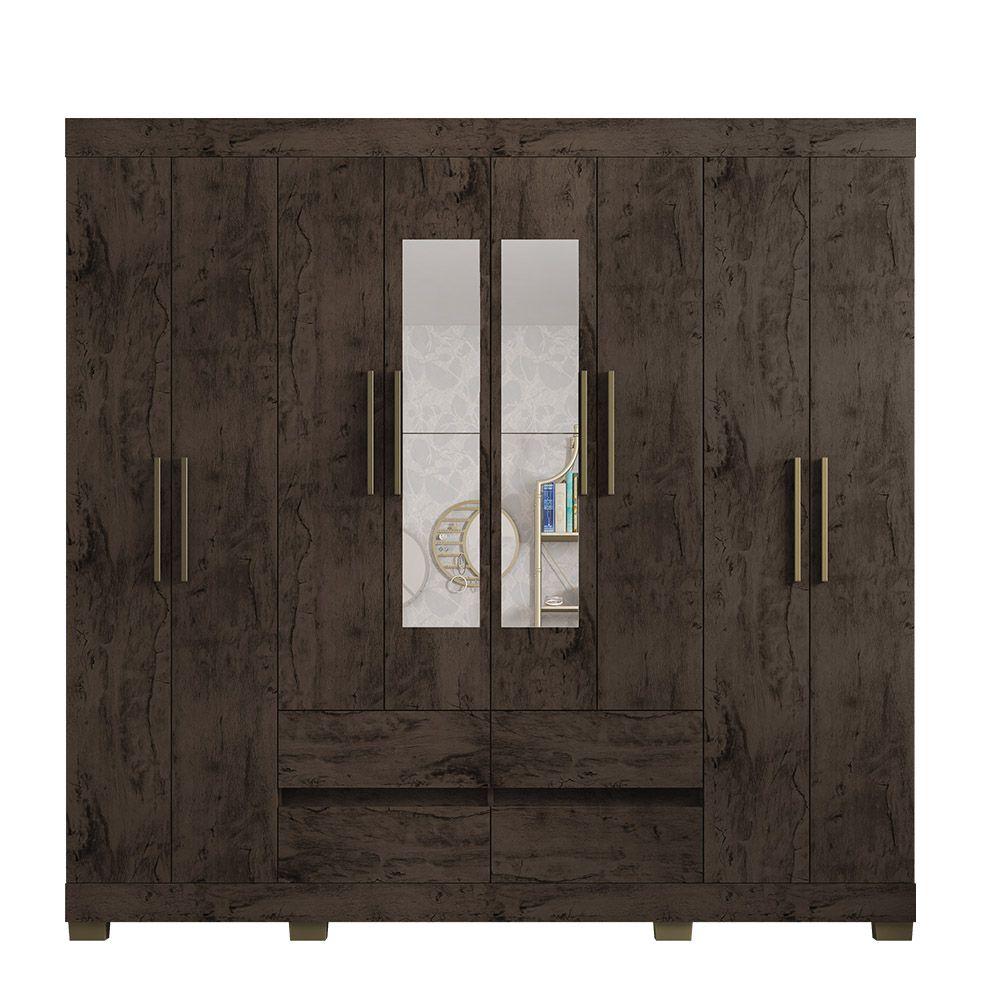 Guarda Roupa 2084 8 Portas com Espelho 4 Gavetas Imbuia - Araplac