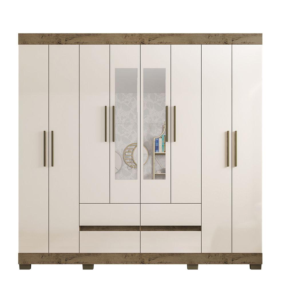 Guarda Roupa 2084 8 Portas com Espelho 4 Gavetas cor Demolição/Baunilha - Araplac