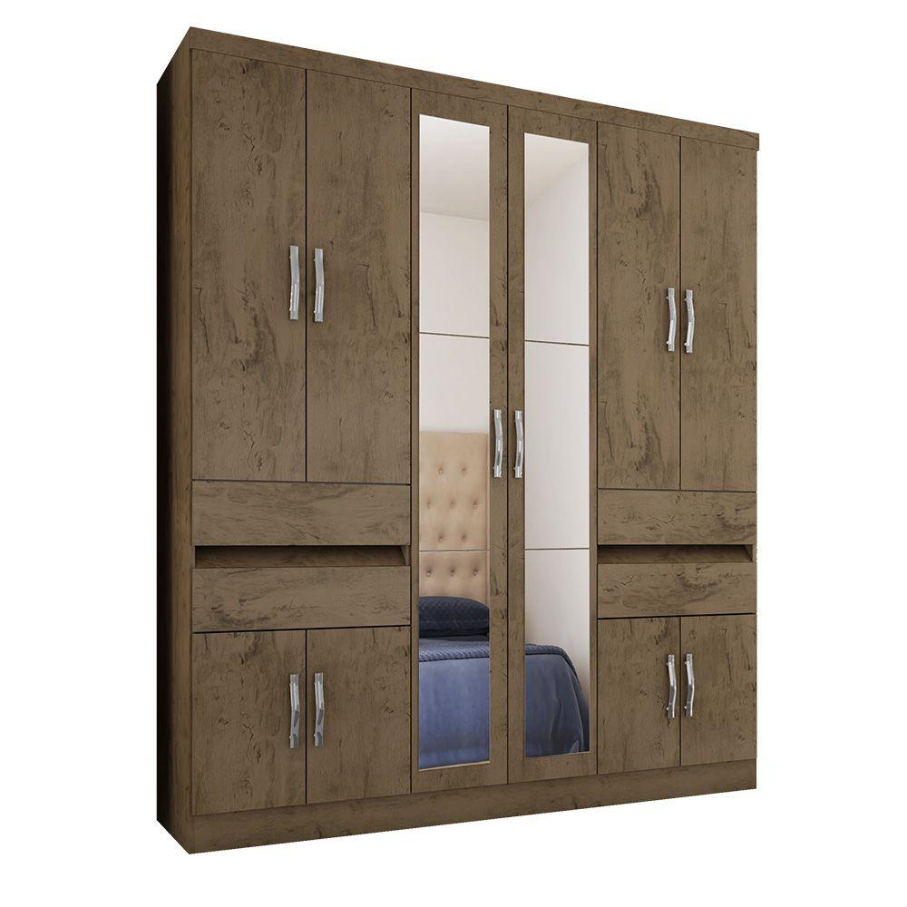Guarda Roupa 3430 10 Portas com Espelho 4 Gavetas cor Demolição - Araplac