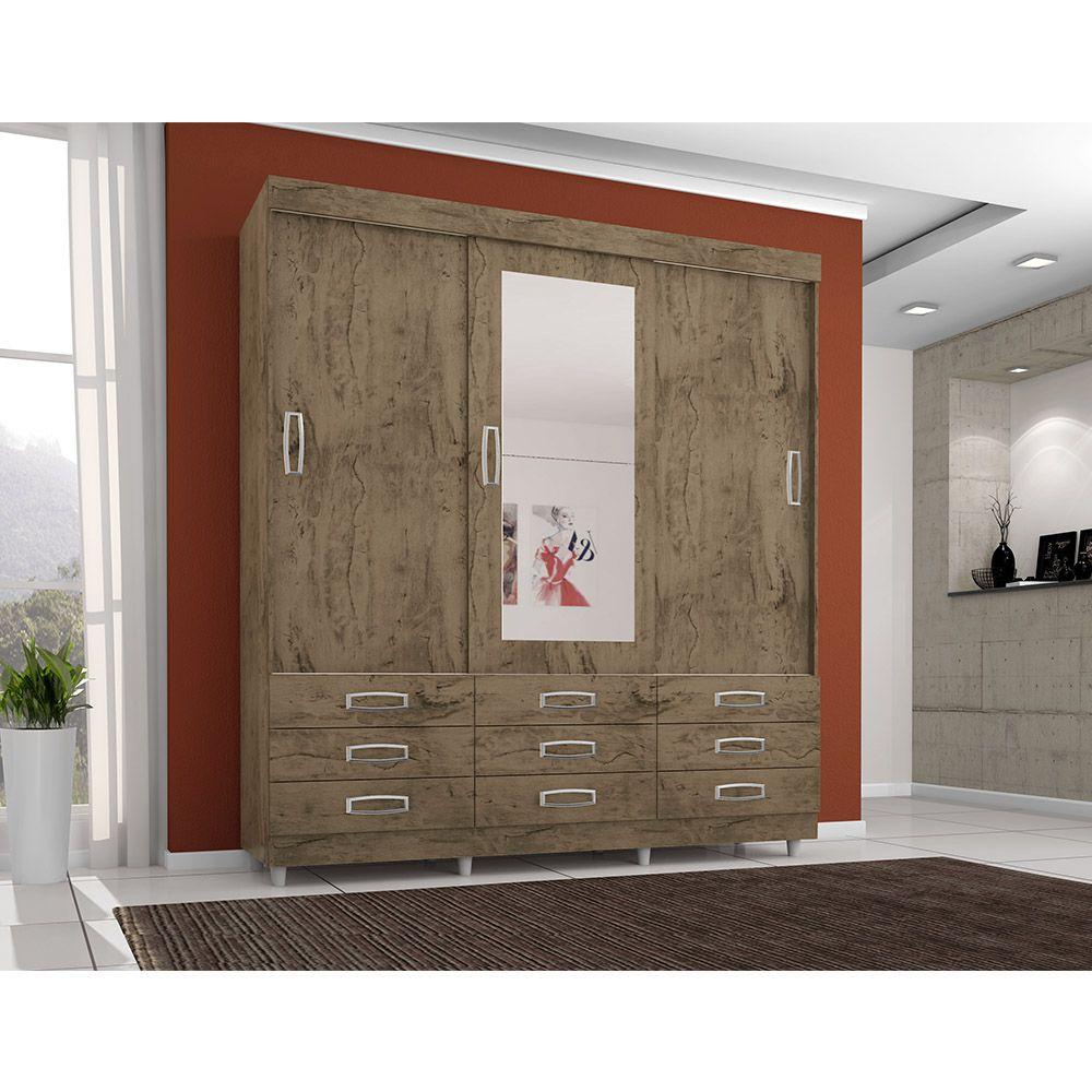 Guarda Roupa 4900 3 Portas deslizantes com Espelho 9 Gavetas cor Demolição - Araplac
