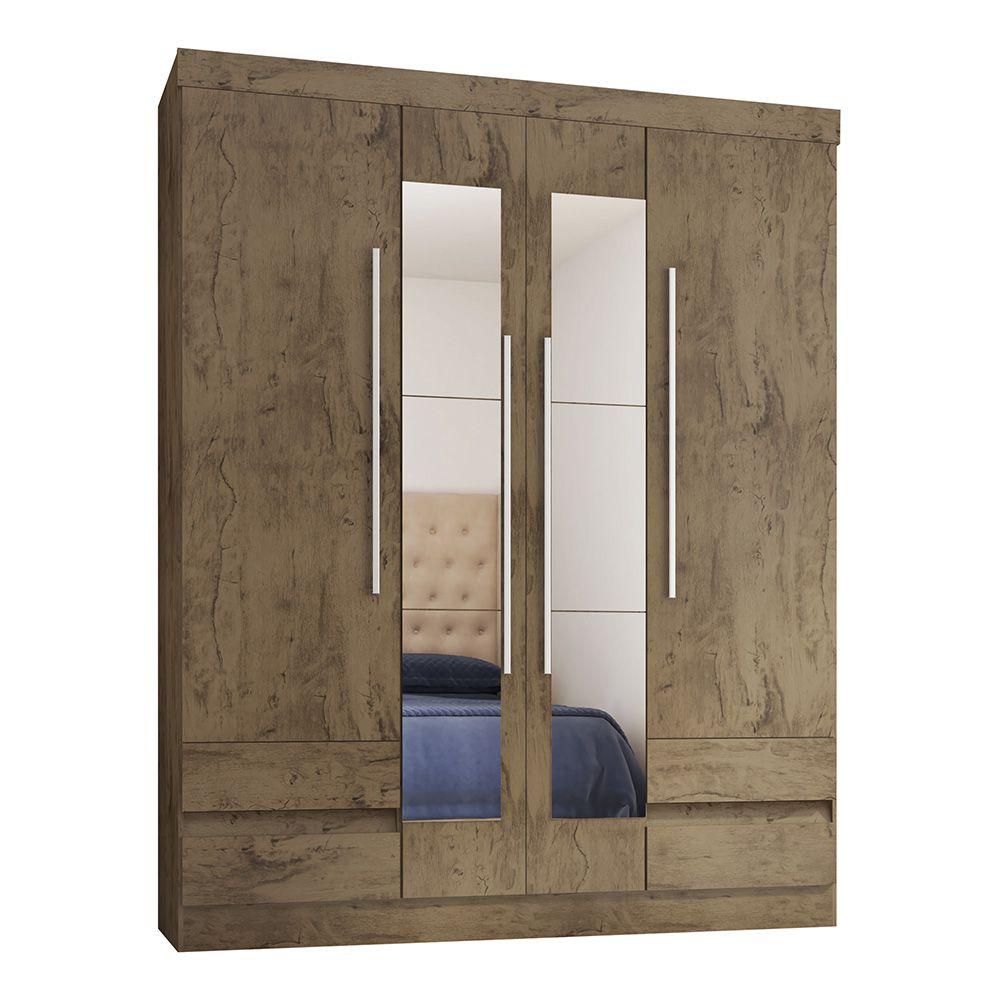 Guarda Roupa 4400 4 Portas com Espelho 4 Gavetas cor Demolição - Araplac