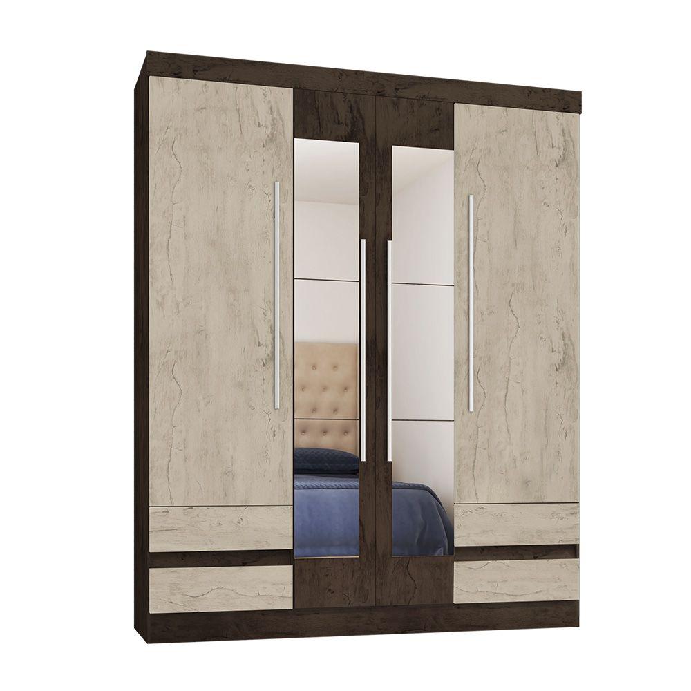 Guarda Roupa 4400 4 Portas com Espelho 4 Gavetas Imbuia/Avelã - Araplac