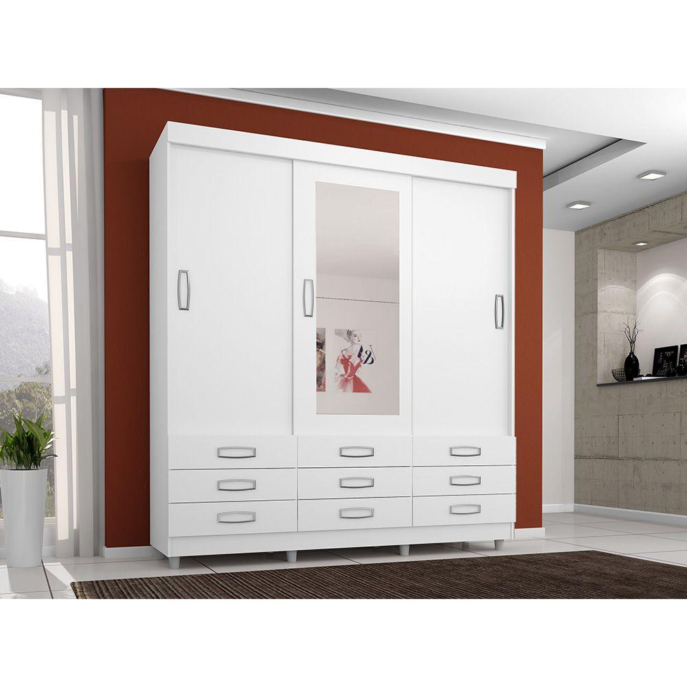 Guarda Roupa 4900 3 Portas deslizantes com Espelho 9 Gavetas Branco Flex - Araplac