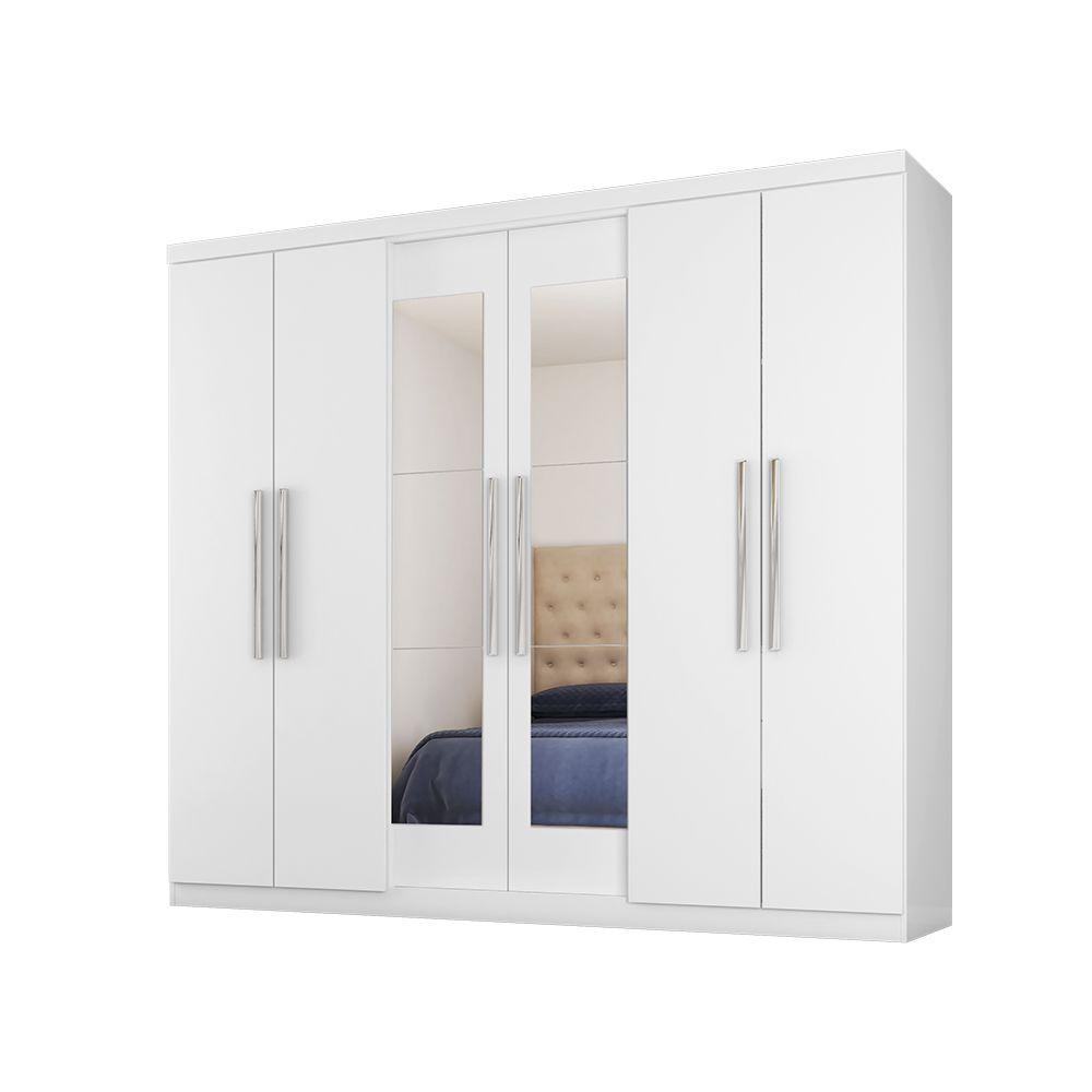 Guarda Roupa 7000 6 Portas com Espelho 4 Gavetas Branco - Araplac