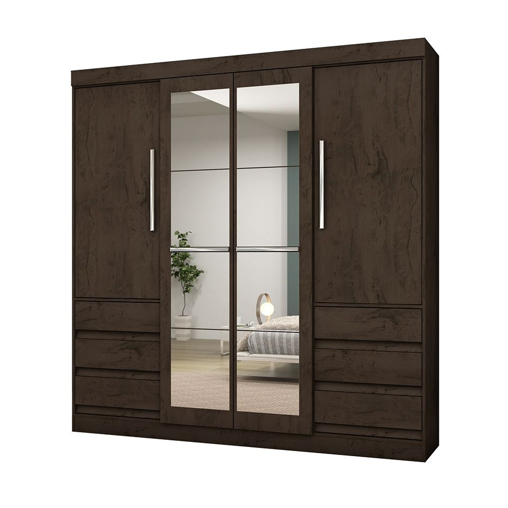 Guarda Roupa Casal 1577 4 Portas com Espelho 6 Gavetas Imbuia - Araplac