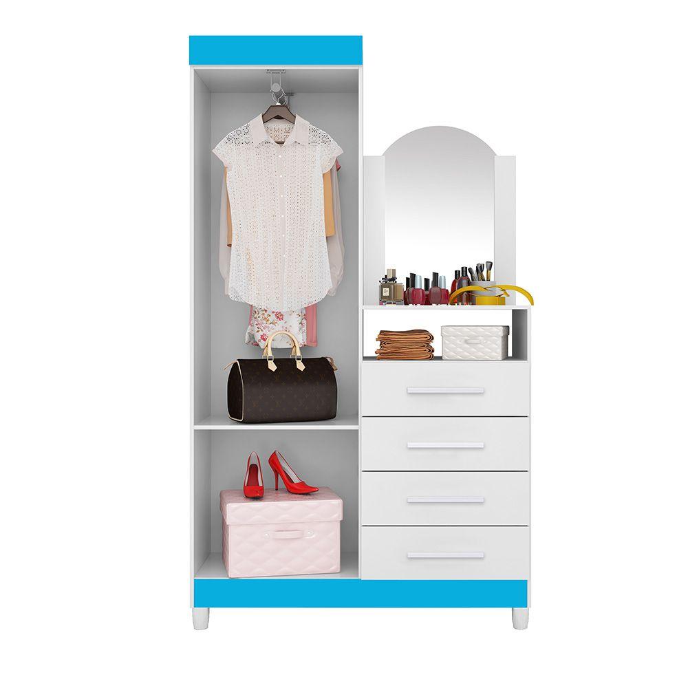 Guarda Roupa Cômoda Capri com Espelho 2 Portas 4 Gavetas Branco Flex - Albatroz