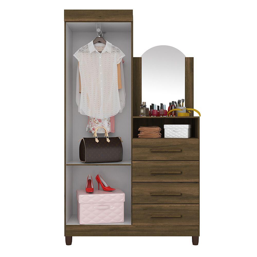 Guarda Roupa Cômoda Capri com Espelho 2 Portas 4 Gavetas Cedro - Albatroz