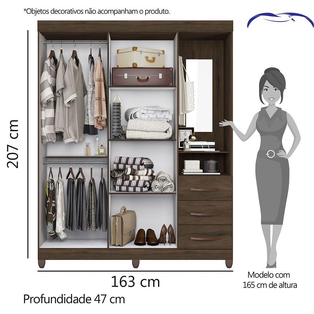 Guarda Roupa Pérola com Espelho 4 Portas 3 Gavetas Cedro - Albatroz