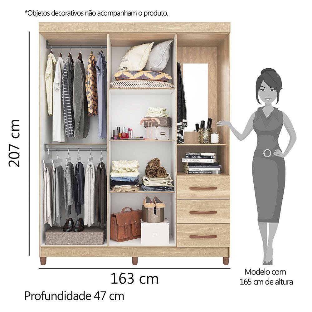 Guarda Roupa Pérola com Espelho 4 Portas 3 Gavetas Freijó/Off White - Albatroz