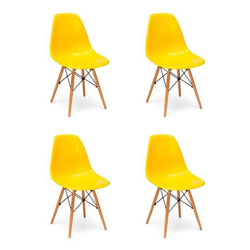 Kit 04 Cadeiras Eiffel Charles Eames em ABS c/ Base de Madeira DSW Amarelo - Facthus