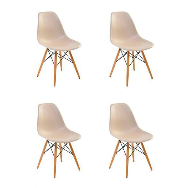 Kit 04 Cadeiras Eiffel Charles Eames em ABS c/ Base de Madeira DSW Bege- Facthus