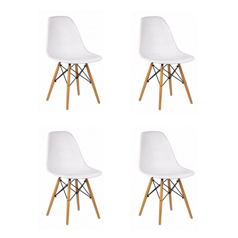Kit 04 Cadeiras Eiffel Charles Eames em ABS c/ Base de Madeira DSW Branco- Facthus