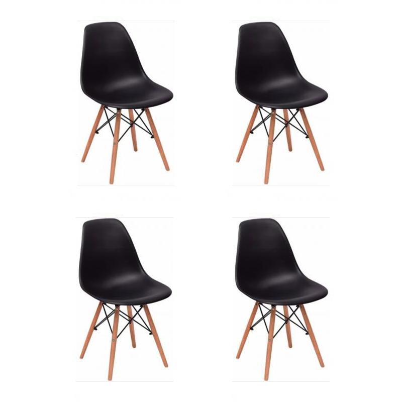 Kit 04 Cadeiras Eiffel Charles Eames em ABS c/ Base de Madeira DSW - Facthus