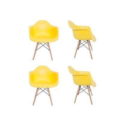 Kit 4 Cadeiras Eiffel Melbourne com Pés Palito em Madeira Amarela - Facthus