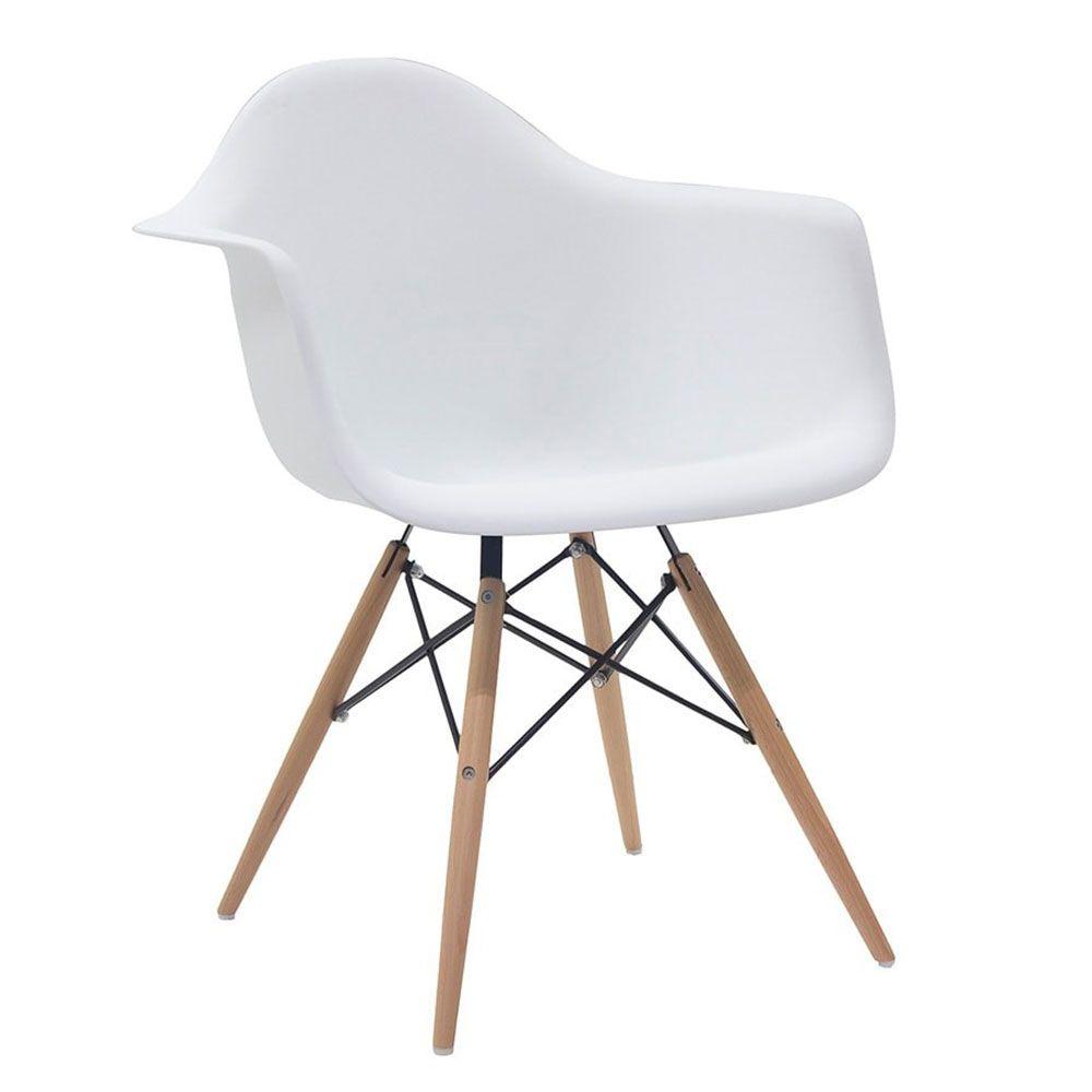 Kit 4 Cadeiras Eiffel Melbourne com Pés Palito em Madeira Branca - Facthus