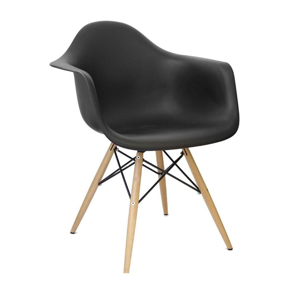 Kit 4 Cadeiras Eiffel Melbourne com Pés Palito em Madeira Preta - Facthus
