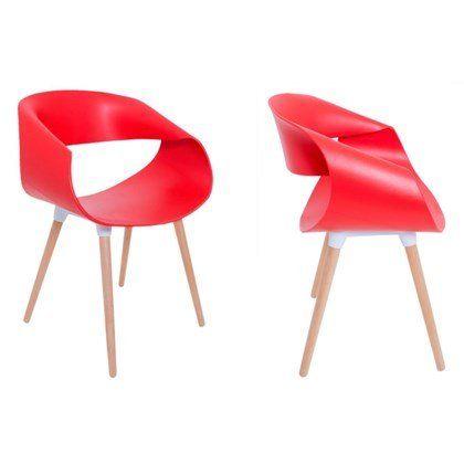 Kit 4 Cadeiras Petra com Pés Palito e Encosto Curvo Vermelha - Facthus