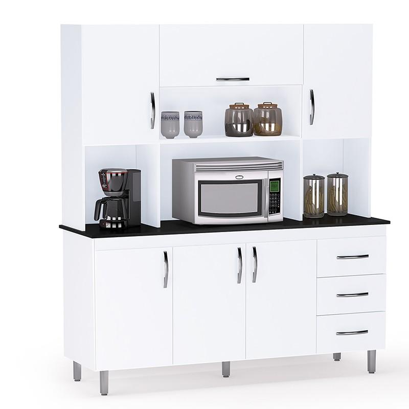 Armário Para Cozinha 6 Portas e 3 Gavetas Branco - Kit Ana Clara - AJL