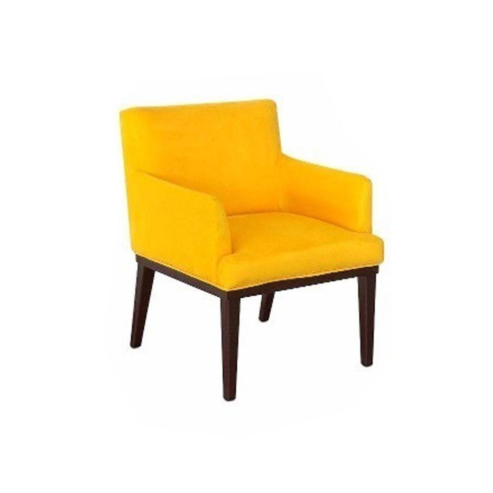 Kit com 02 Poltronas Decorativa Vitória Suede Amarelo