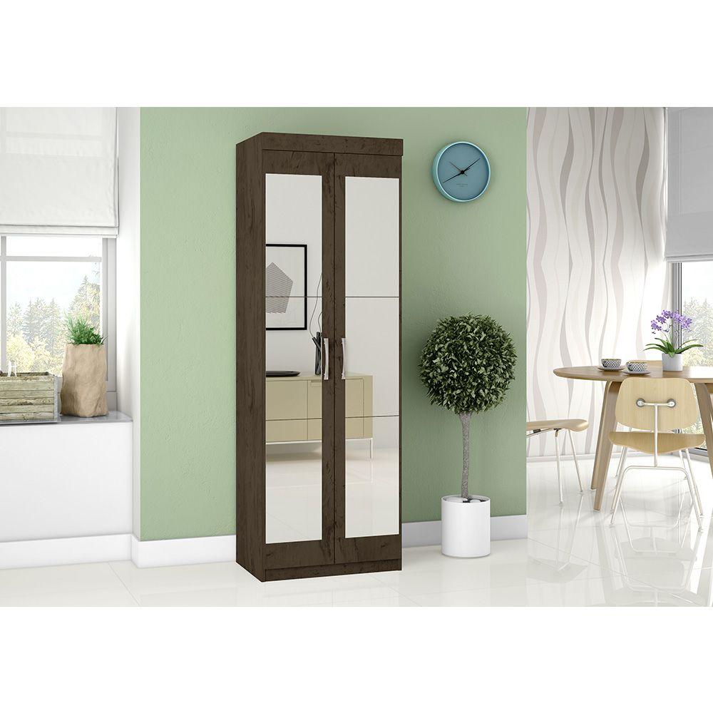 Multiuso Organizador 7020 2 Portas com Espelho 4 Prateleiras Imbuia - Araplac