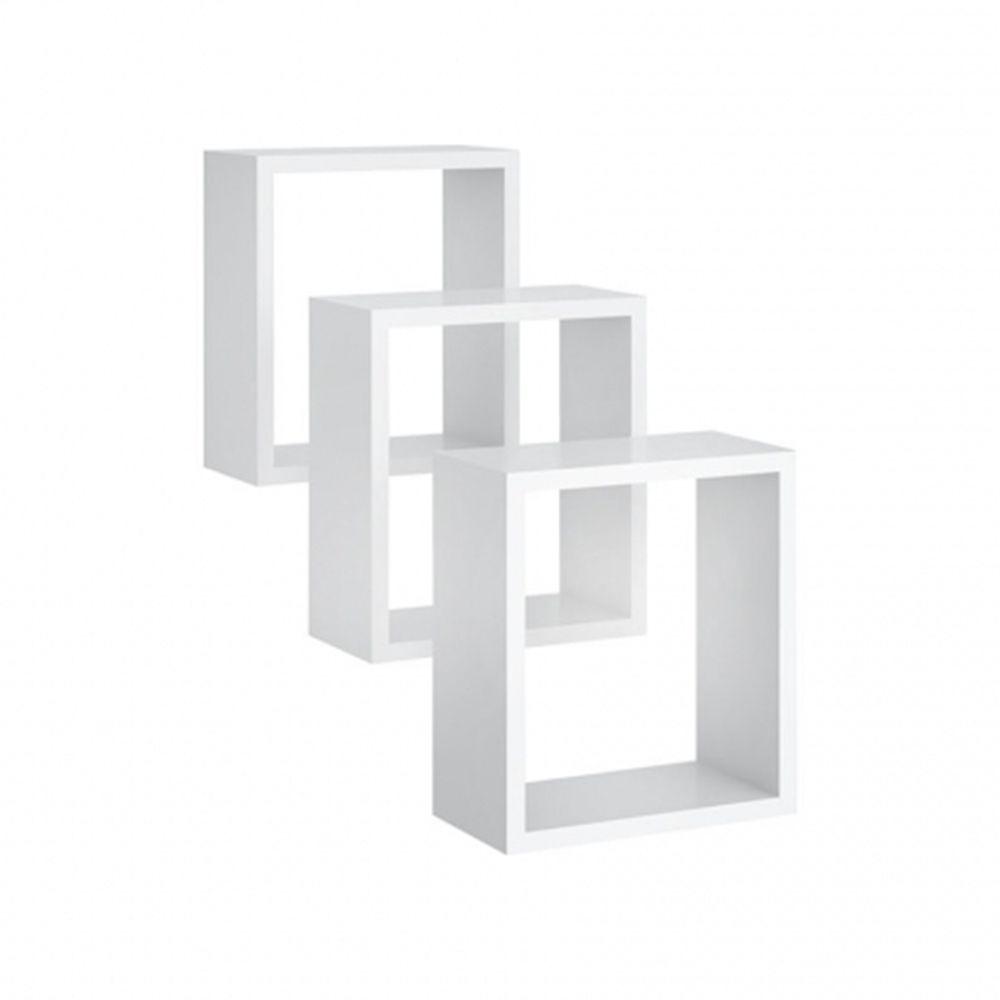 Nicho de parede Quadrado Kit 3 peças Branco - Peternella