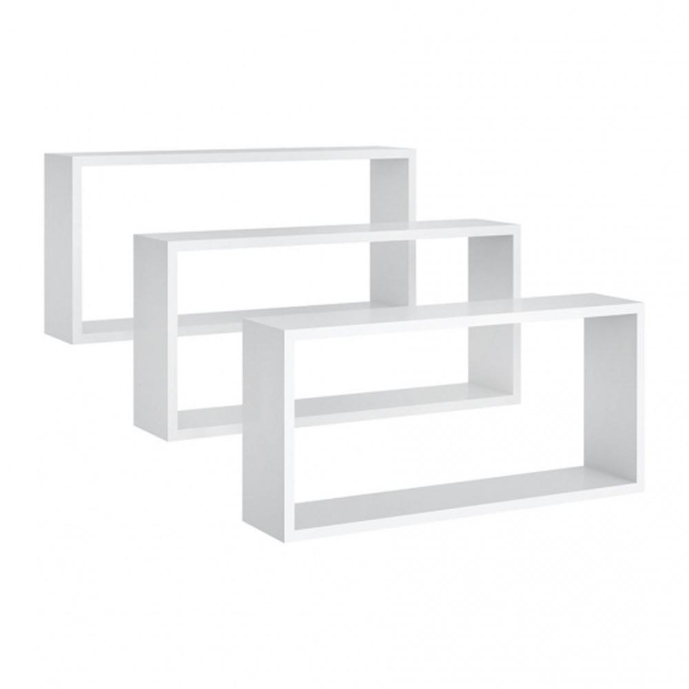 Nicho de parede Retangular Kit 3 peças Branco - Peternella