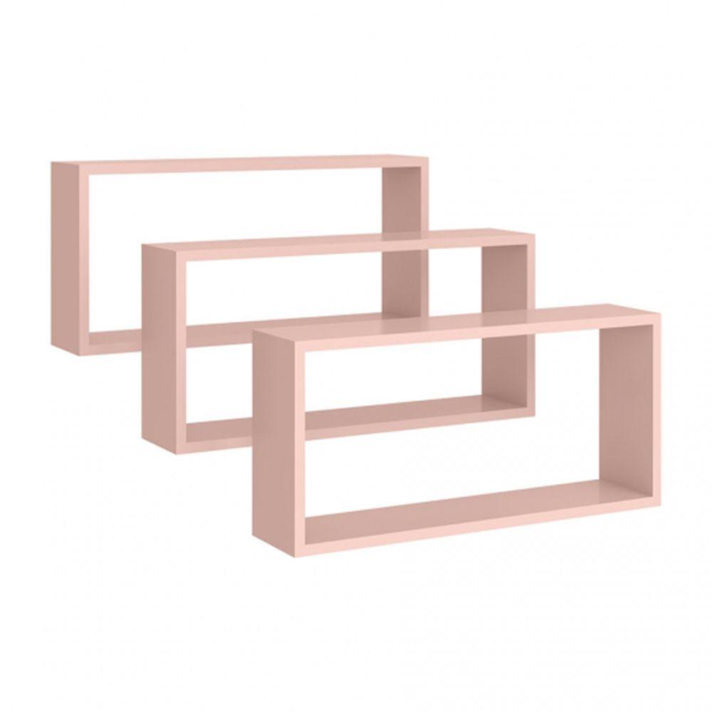 Nicho de parede Retangular Kit 3 peças Rosê - Peternella