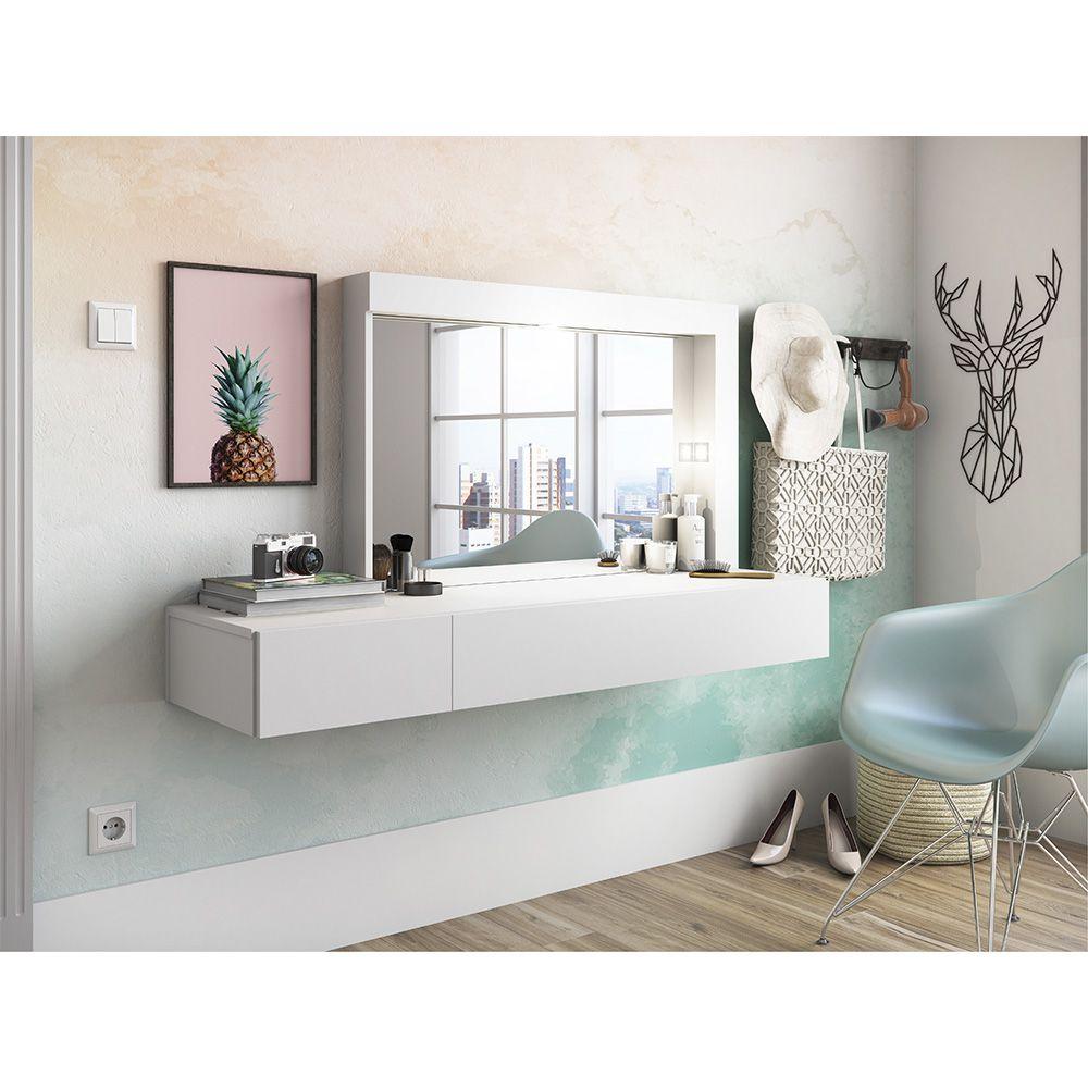Penteadeira Suspensa Camarim com Espelho Inspiração Branco - Albatroz