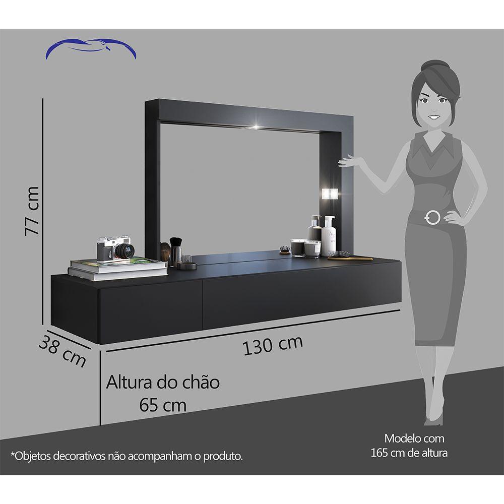 Penteadeira Suspensa Camarim com Espelho Inspiração Preta - Albatroz